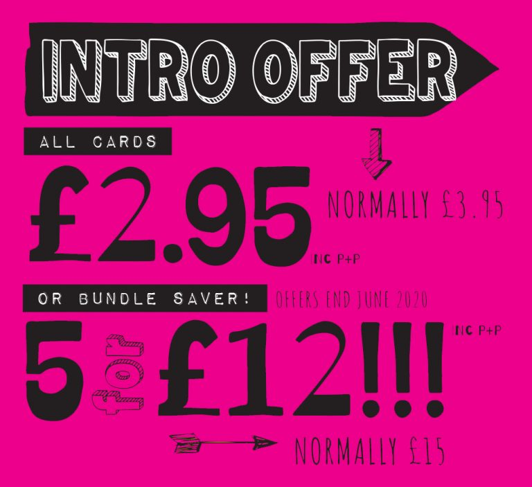 A pink banner with black text which says intro offer. All cards £2.95 normally £3.95 or bundle saver 5 for £12. Offer ends June 2020. Prices include Postage & Package.