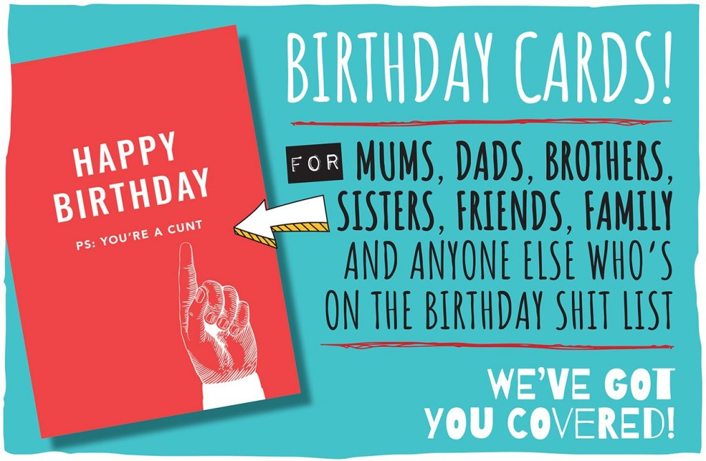 Blue rectangular background with teh words birthday cards. For Mums, Dads, Brothers, Sisters, Family and anyone else who's on the birthday shit list