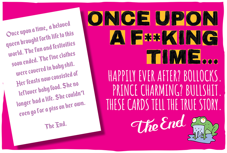 A bright pink square image containing the words Open Upon a F**king Time and an example greetings card from that range